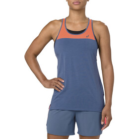 asics Loose Strappy Tank Mujer, grand shark/nova orange